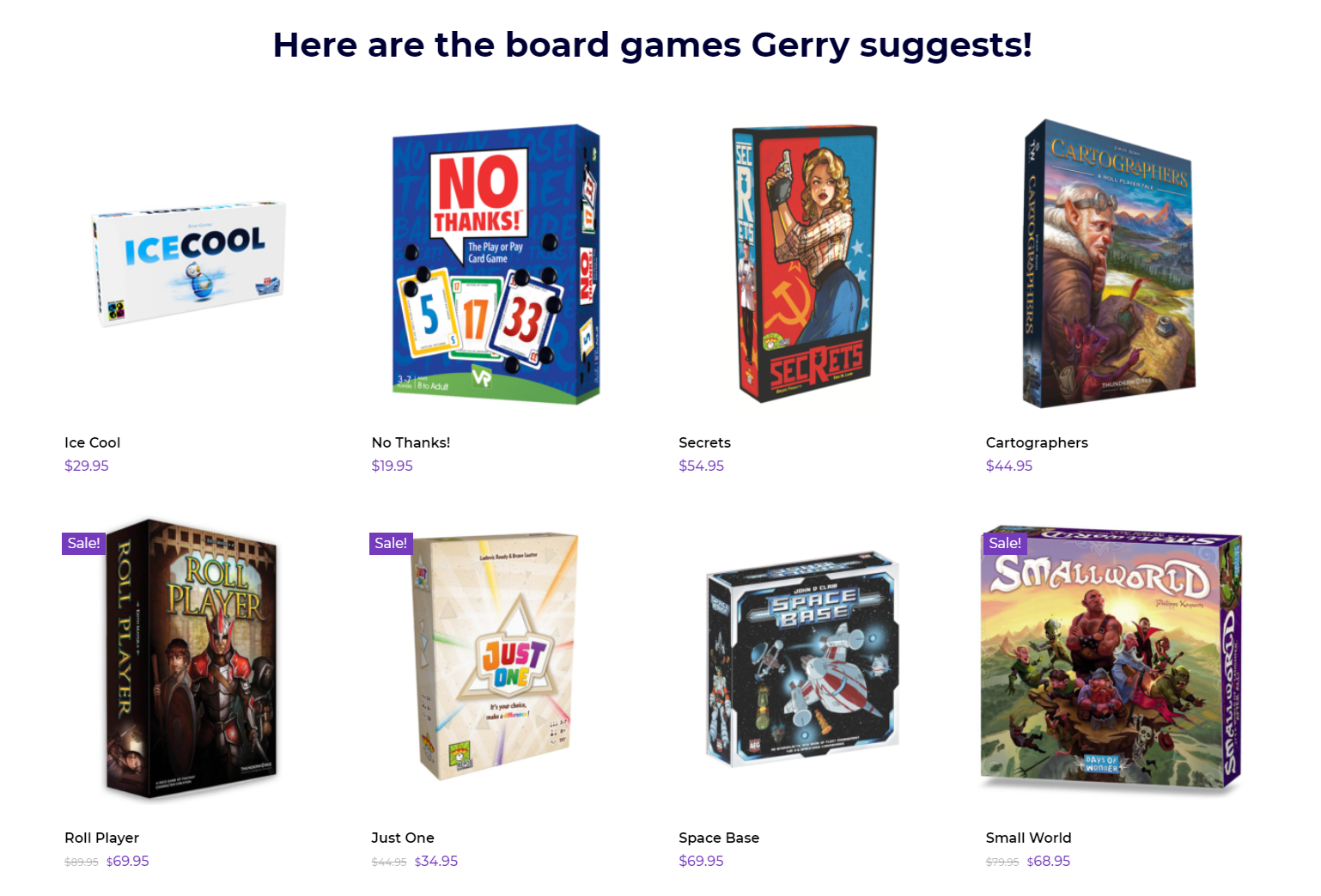 board game gift - board game finder suggestions