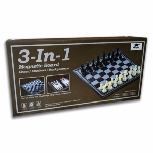 3-in-1 Magnetic Chess Checkers & Backgammon Board Game