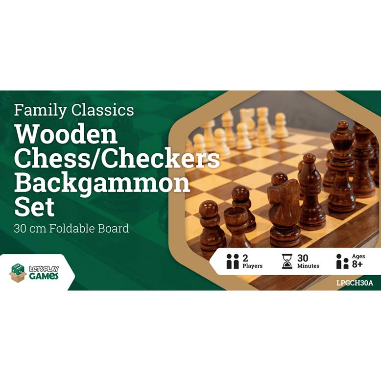 3-in-1 Wooden Chess Checkers Backgammon