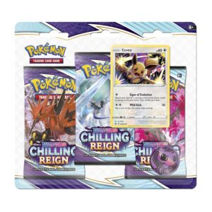 Pokemon TCG Sword & Shield-Chilling Reign 3 Booster Packs Eevee Promo Card Coin