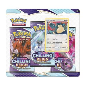 Pokemon TCG Sword & Shield-Chilling Reign 3 Booster Packs Snorlax Promo Card Coin